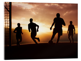 Acrylic print  Football players in front of sunset