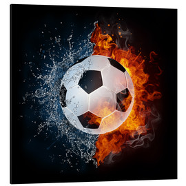 Aluminium print  Football in the battle of the elements