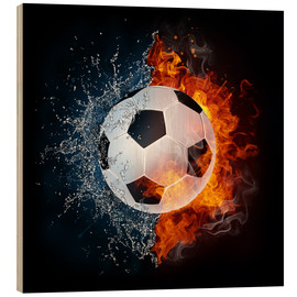 Wood print  Football in the battle of the elements