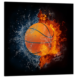 Aluminium print  Basketball in the battle of the elements