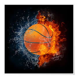 Premium poster  Basketball in the battle of the elements
