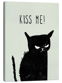 Canvas print  Kiss Me (black cat) - Amy and Kurt Berlin