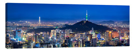 Canvas  Seoul panorama at night overlooking Namsan and N Seoul Tower - Jan Christopher Becke