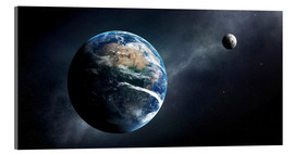 Acrylic print  Earth and moon from outer space - Johan Swanepoel