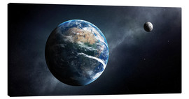 Canvas print  Earth and moon from outer space - Johan Swanepoel