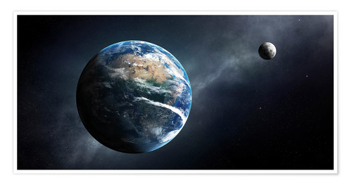 Premium poster Earth and moon from outer space