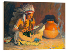 Wood print  The chief song - Eanger Irving Couse