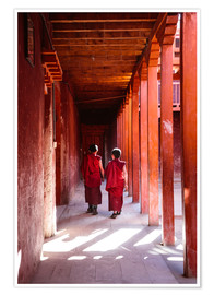 Premium poster Two young monks in a monastery, Nepal