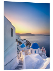 Foam board print  Sunrise over the Blue Roofs of Santorini - Jan Christopher Becke