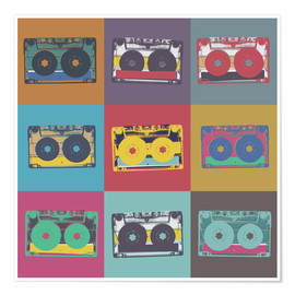 Premium poster  colorful cassettes