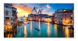 Premium poster Grand Canal in Venice at night, Italy
