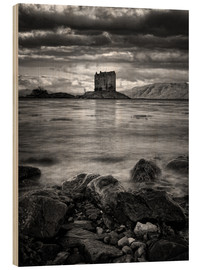 Wood print  Castle Stalker, Scotland - Martina Cross