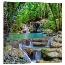 Acrylic print  Small waterfall in a forest