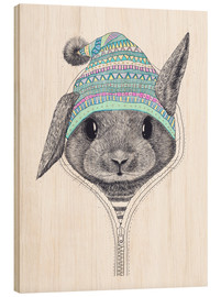 Wood print  Bunny with a hood - Valeriya Korenkova
