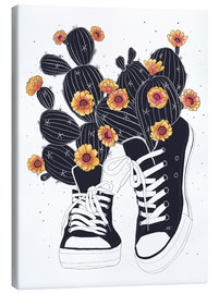 Canvas print  Sneakers with flowering cactuses - Valeriya Korenkova