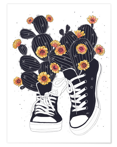 Premium poster Sneakers with flowering cactuses