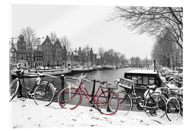 Acrylic print  Red bicycle in the snow - George Pachantouris