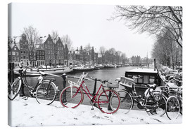 Canvas  Red bicycle in the snow - George Pachantouris