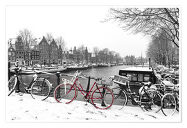 Premium poster  Red bicycle in the snow - George Pachantouris