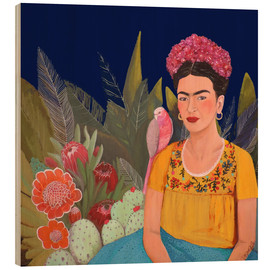 Wood print  Frida and the blue house II - Sylvie Demers