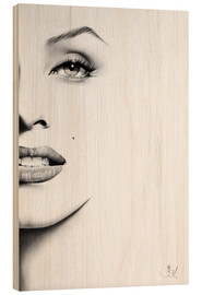 Wood print  Marilyn Monroe minimal portrait - Ileana Hunter