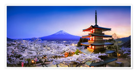 Premium poster Chureito Pagoda at Mount Fuji in Fujiyoshida, Japan