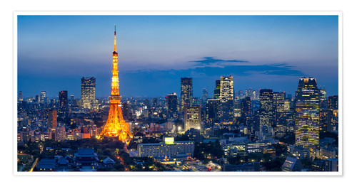 Tokyo Skyline With Tokyo Tower At Night Posters And Prints