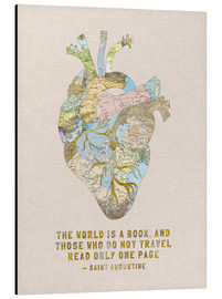 Aluminium print  A Travelers Heart + Quote - Bianca Green