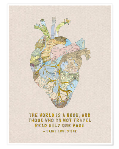 Premium poster A Travelers Heart + Quote