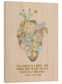 Wood print  A Travelers Heart + Quote - Bianca Green