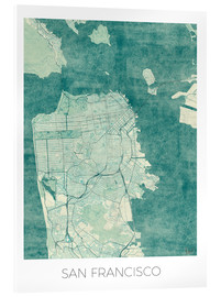 Acrylic glass  San Francisco Map Blue - Hubert Roguski