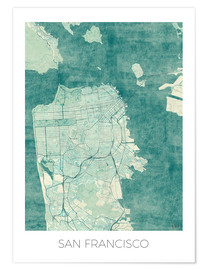 Premium poster San Francisco Map Blue