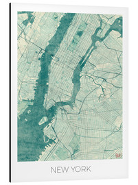 Aluminium print  Map of New York, Blue - Hubert Roguski