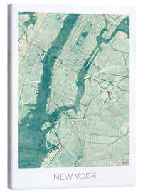 Canvas  Map of New York, Blue - Hubert Roguski