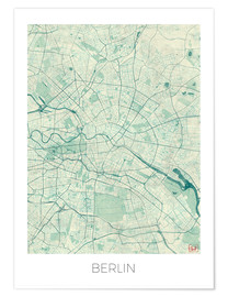 Poster  Berlin Map Blue - Hubert Roguski