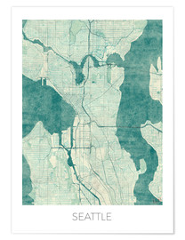 Premium poster  Seattle Map Blue - Hubert Roguski
