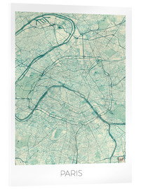 Acrylic print  Paris Map, Blue - Hubert Roguski