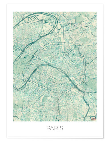 Premium poster Paris Map, Blue