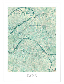 Poster  Paris Map Blue - Hubert Roguski