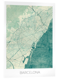 Acrylic print  Map of Barcelona in blue - Hubert Roguski