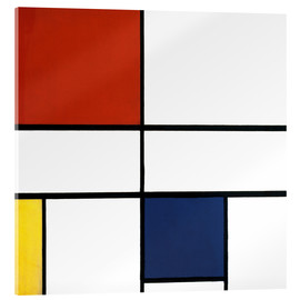 Acrylic glass  composition c no iii with red yellow and blue - Piet Mondrian
