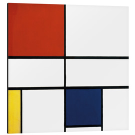 Alu-Dibond  composition c no iii with red yellow and blue - Piet Mondrian