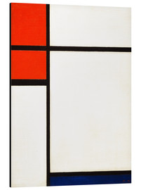 Aluminium print  composition with red and blue - Piet Mondriaan