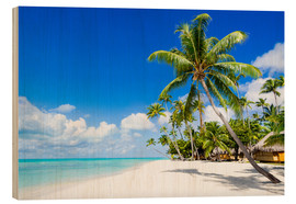 Wood print  Palm beach in the South Pacific with white sand and blue sea - Jan Christopher Becke