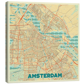 Canvas  Amsterdam Map Retro - Hubert Roguski
