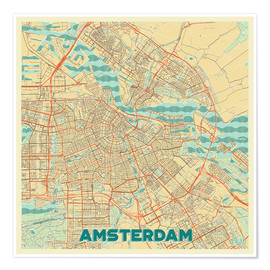 Premium poster  Amsterdam Map Retro - Hubert Roguski