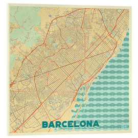 Acrylic print  Barcelona Map Retro - Hubert Roguski