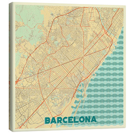 Canvas print  Barcelona Map Retro - Hubert Roguski