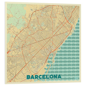 Foam board print  Barcelona Map Retro - Hubert Roguski