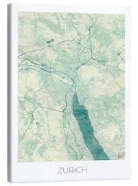 Canvas  Zurich Map Blue - Hubert Roguski